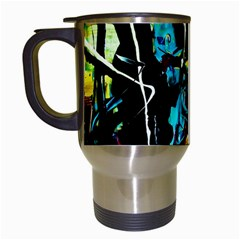 Dance Of Oil Towers 3 Travel Mugs (white) by bestdesignintheworld