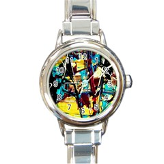 Dance Of Oil Towers 4 Round Italian Charm Watch by bestdesignintheworld