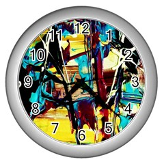 Dance Of Oil Towers 4 Wall Clocks (silver)  by bestdesignintheworld