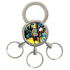 Dance Of Oil Towers 4 3 Ring Key Chains by bestdesignintheworld