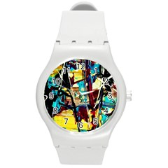 Dance Of Oil Towers 4 Round Plastic Sport Watch (m) by bestdesignintheworld