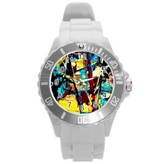 Dance Of Oil Towers 4 Round Plastic Sport Watch (l) by bestdesignintheworld
