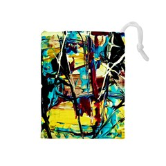 Dance Of Oil Towers 4 Drawstring Pouches (medium)  by bestdesignintheworld