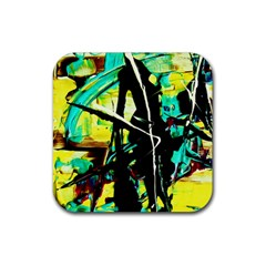 Dance Of Oil Towers 5 Rubber Coaster (square)  by bestdesignintheworld