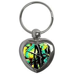 Dance Of Oil Towers 5 Key Chains (heart)  by bestdesignintheworld