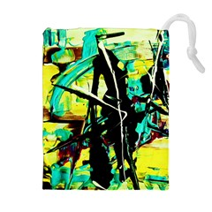 Dance Of Oil Towers 5 Drawstring Pouches (extra Large) by bestdesignintheworld