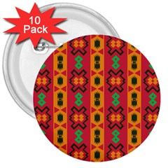 Tribal Shapes In Retro Colors                                 3  Button (10 Pack) by LalyLauraFLM
