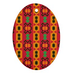 Tribal Shapes In Retro Colors                                 Ornament (oval) by LalyLauraFLM