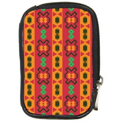 Tribal Shapes In Retro Colors                                 Compact Camera Leather Case by LalyLauraFLM