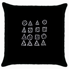 Drawing  Throw Pillow Case (black) by ValentinaDesign