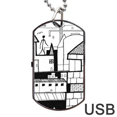 Drawing  Dog Tag Usb Flash (two Sides) by ValentinaDesign