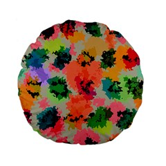 Colorful Spots                             Standard 15  Premium Flano Round Cushion by LalyLauraFLM