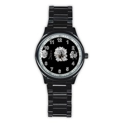 Drawing  Stainless Steel Round Watch