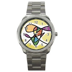Abstract Art Colorful Sport Metal Watch by Modern2018