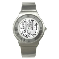 Drawing Stainless Steel Watch by ValentinaDesign