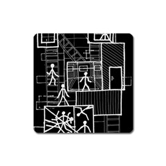 Drawing Square Magnet by ValentinaDesign