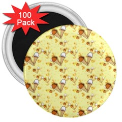 Funny Sunny Ice Cream Cone Cornet Yellow Pattern  3  Magnets (100 Pack) by yoursparklingshop