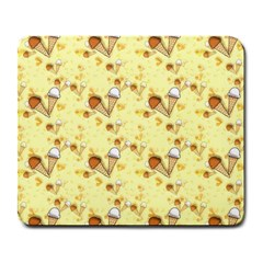 Funny Sunny Ice Cream Cone Cornet Yellow Pattern  Large Mousepads by yoursparklingshop