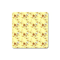 Funny Sunny Ice Cream Cone Cornet Yellow Pattern  Square Magnet by yoursparklingshop