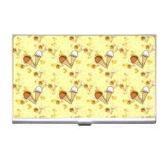 Funny Sunny Ice Cream Cone Cornet Yellow Pattern  Business Card Holders by yoursparklingshop