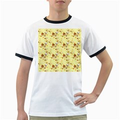 Funny Sunny Ice Cream Cone Cornet Yellow Pattern  Ringer T Shirts by yoursparklingshop