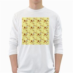Funny Sunny Ice Cream Cone Cornet Yellow Pattern  White Long Sleeve T Shirts by yoursparklingshop