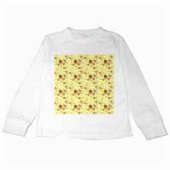 Funny Sunny Ice Cream Cone Cornet Yellow Pattern  Kids Long Sleeve T Shirts by yoursparklingshop