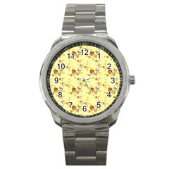 Funny Sunny Ice Cream Cone Cornet Yellow Pattern  Sport Metal Watch by yoursparklingshop