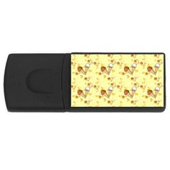 Funny Sunny Ice Cream Cone Cornet Yellow Pattern  Rectangular Usb Flash Drive by yoursparklingshop