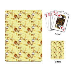 Funny Sunny Ice Cream Cone Cornet Yellow Pattern  Playing Card by yoursparklingshop
