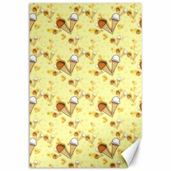 Funny Sunny Ice Cream Cone Cornet Yellow Pattern  Canvas 12  X 18   by yoursparklingshop