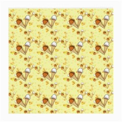 Funny Sunny Ice Cream Cone Cornet Yellow Pattern  Medium Glasses Cloth (2 Side) by yoursparklingshop