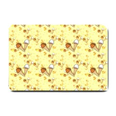 Funny Sunny Ice Cream Cone Cornet Yellow Pattern  Small Doormat  by yoursparklingshop