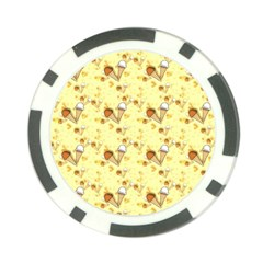 Funny Sunny Ice Cream Cone Cornet Yellow Pattern  Poker Chip Card Guard by yoursparklingshop