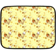 Funny Sunny Ice Cream Cone Cornet Yellow Pattern  Fleece Blanket (mini) by yoursparklingshop