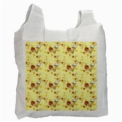 Funny Sunny Ice Cream Cone Cornet Yellow Pattern  Recycle Bag (one Side) by yoursparklingshop