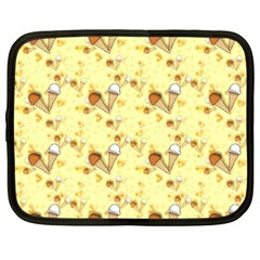 Funny Sunny Ice Cream Cone Cornet Yellow Pattern  Netbook Case (xxl)  by yoursparklingshop
