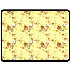 Funny Sunny Ice Cream Cone Cornet Yellow Pattern  Fleece Blanket (large)  by yoursparklingshop