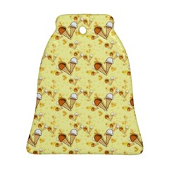 Funny Sunny Ice Cream Cone Cornet Yellow Pattern  Bell Ornament (two Sides) by yoursparklingshop