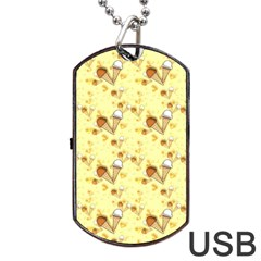 Funny Sunny Ice Cream Cone Cornet Yellow Pattern  Dog Tag Usb Flash (two Sides) by yoursparklingshop