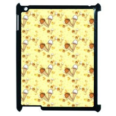 Funny Sunny Ice Cream Cone Cornet Yellow Pattern  Apple Ipad 2 Case (black) by yoursparklingshop