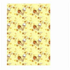 Funny Sunny Ice Cream Cone Cornet Yellow Pattern  Large Garden Flag (two Sides) by yoursparklingshop