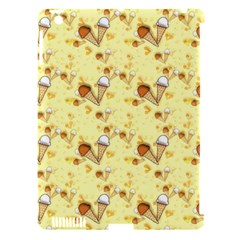 Funny Sunny Ice Cream Cone Cornet Yellow Pattern  Apple Ipad 3/4 Hardshell Case (compatible With Smart Cover) by yoursparklingshop