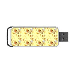 Funny Sunny Ice Cream Cone Cornet Yellow Pattern  Portable Usb Flash (two Sides) by yoursparklingshop