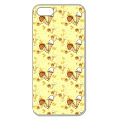 Funny Sunny Ice Cream Cone Cornet Yellow Pattern  Apple Seamless Iphone 5 Case (clear) by yoursparklingshop