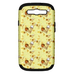 Funny Sunny Ice Cream Cone Cornet Yellow Pattern  Samsung Galaxy S Iii Hardshell Case (pc+silicone) by yoursparklingshop