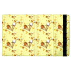 Funny Sunny Ice Cream Cone Cornet Yellow Pattern  Apple Ipad 2 Flip Case by yoursparklingshop