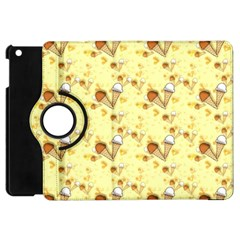 Funny Sunny Ice Cream Cone Cornet Yellow Pattern  Apple Ipad Mini Flip 360 Case by yoursparklingshop