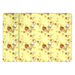 Funny Sunny Ice Cream Cone Cornet Yellow Pattern  Samsung Galaxy Tab 10 1  P7500 Flip Case by yoursparklingshop