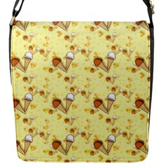 Funny Sunny Ice Cream Cone Cornet Yellow Pattern  Flap Messenger Bag (s) by yoursparklingshop